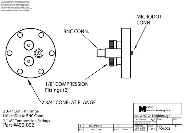 Sensor Feedthrough CF40; UltraTorr 2x 1/8 in.