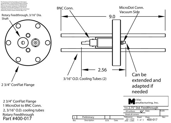 Sensor Feedthrough CF40; 3/16 in.