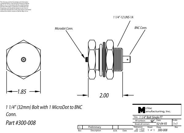 BNC-Microdot Durchführung