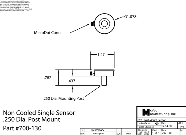 Single Sensor, non-cooled, 0.250 dia. post mount