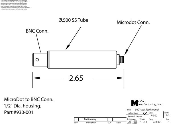 Einschweißadapter Microdot- BNC