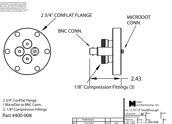 Sensor Feedthrough CF40; 1/8 in.