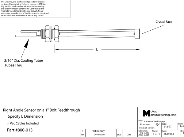 Right Angle Single Sensor on 1 in. feedthrough