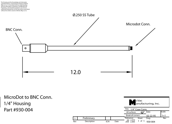 Adapter 1/4 in. Tube MicroDot to BNC Conn.