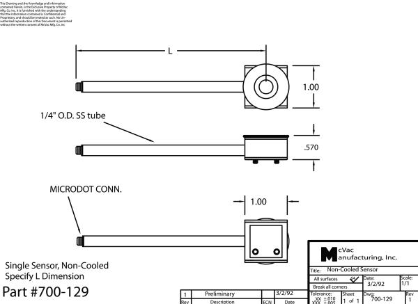 Single Sensor, non-cooled, specify L dimension
