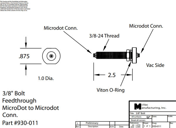 Durchführung 3/8 in. Microdot- BNC