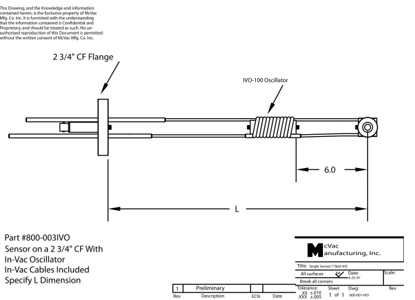 Oscillator Sensor on a 2 3/4 in. CF
